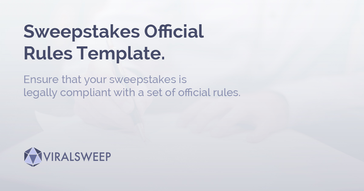 sweepstakes official rules template